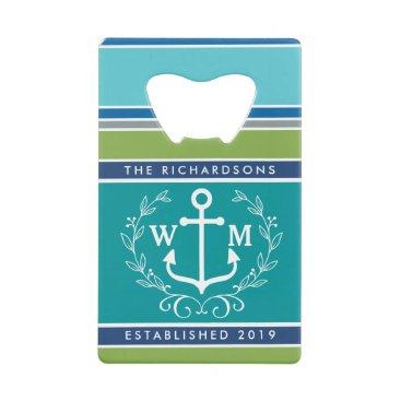 Beach Themed Wedding Monogram Anchor Laurel Wreath Aqua Stripes Credit Card Bottle Opener