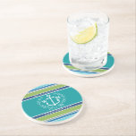 """Wedding Monogram Anchor Laurel Wreath Aqua Stripes Drink Coaster<br><div class=""""desc"""">An elegant white anchor with laurel leaf wreath is the centerpiece of this simple, trendy, colorful design featuring stylish stripes in various tones of blue, green and gray. Fresh, fun, nautical design perfect for the hot Summer season. This design is gender neutral/fluid and will work for all couples. Customize with...</div>"""
