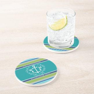 Wedding Monogram Anchor Laurel Wreath Aqua Stripes Drink Coaster
