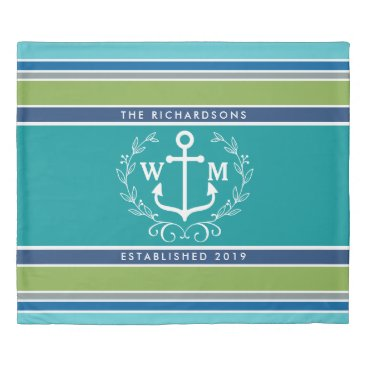 Beach Themed Wedding Monogram Anchor Laurel Wreath Aqua Stripes Duvet Cover
