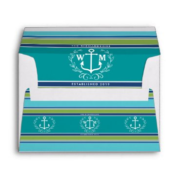 Beach Themed Wedding Monogram Anchor Laurel Wreath Aqua Stripes Envelope