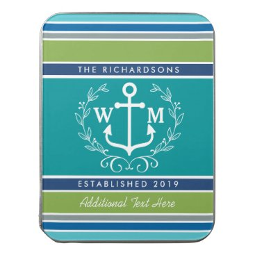 Wedding Monogram Anchor Laurel Wreath Aqua Stripes Jigsaw Puzzle