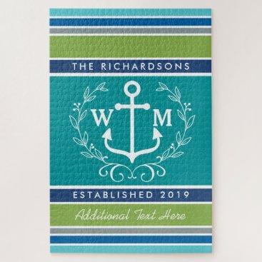 Beach Themed Wedding Monogram Anchor Laurel Wreath Aqua Stripes Jigsaw Puzzle