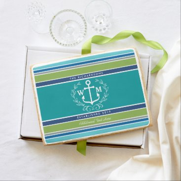 Beach Themed Wedding Monogram Anchor Laurel Wreath Aqua Stripes Jumbo Shortbread Cookie