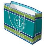 Wedding Monogram Anchor Laurel Wreath Aqua Stripes Large Gift Bag