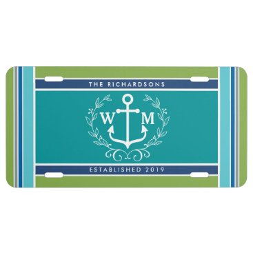 Beach Themed Wedding Monogram Anchor Laurel Wreath Aqua Stripes License Plate