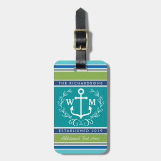 Wedding Monogram Anchor Laurel Wreath Aqua Stripes Luggage Tag
