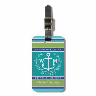 Wedding Monogram Anchor Laurel Wreath Aqua Stripes Luggage Tag