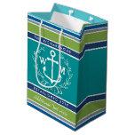 Wedding Monogram Anchor Laurel Wreath Aqua Stripes Medium Gift Bag