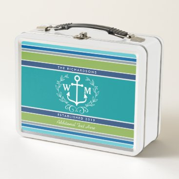 Beach Themed Wedding Monogram Anchor Laurel Wreath Aqua Stripes Metal Lunch Box