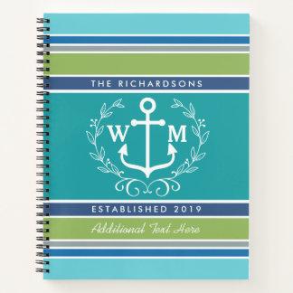 Wedding Monogram Anchor Laurel Wreath Aqua Stripes Notebook