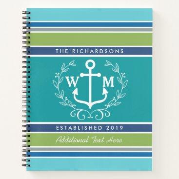 Beach Themed Wedding Monogram Anchor Laurel Wreath Aqua Stripes Notebook