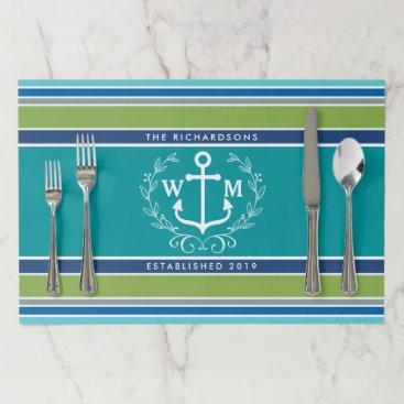 Beach Themed Wedding Monogram Anchor Laurel Wreath Aqua Stripes Paper Placemat