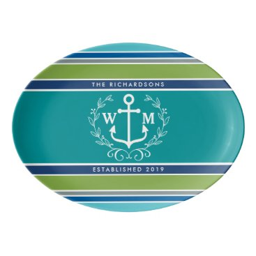 Beach Themed Wedding Monogram Anchor Laurel Wreath Aqua Stripes Porcelain Serving Platter