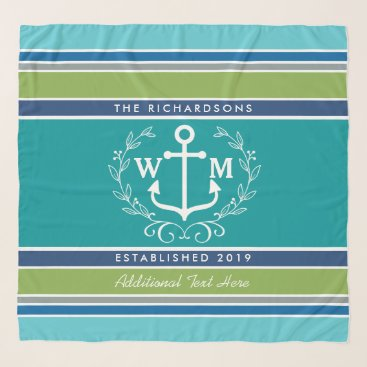 Beach Themed Wedding Monogram Anchor Laurel Wreath Aqua Stripes Scarf