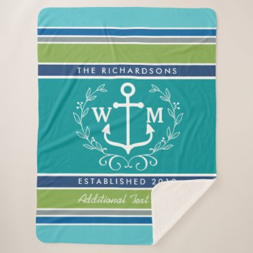 Beach Themed Wedding Monogram Anchor Laurel Wreath Aqua Stripes Sherpa Blanket