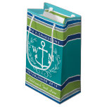 Wedding Monogram Anchor Laurel Wreath Aqua Stripes Small Gift Bag
