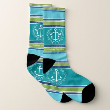 Beach Themed Wedding Monogram Anchor Laurel Wreath Aqua Stripes Socks