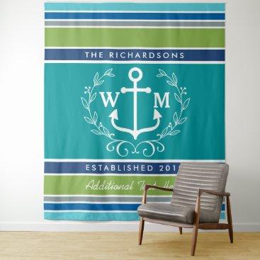 Wedding Monogram Anchor Laurel Wreath Aqua Stripes Tapestry