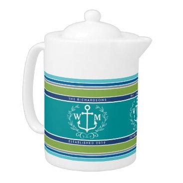 Beach Themed Wedding Monogram Anchor Laurel Wreath Aqua Stripes Teapot