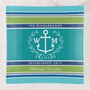 Beach Themed Wedding Monogram Anchor Laurel Wreath Aqua Stripes Trinket Trays