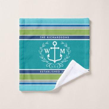 Beach Themed Wedding Monogram Anchor Laurel Wreath Aqua Stripes Wash Cloth