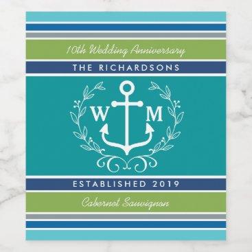 Beach Themed Wedding Monogram Anchor Laurel Wreath Aqua Stripes Wine Label