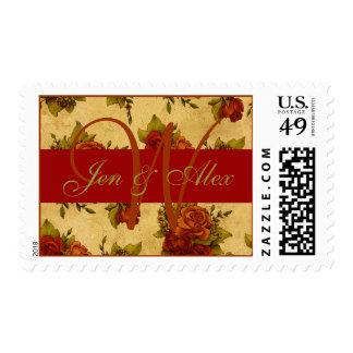 Wedding Monogram Anitque Rose Invitation Stamp