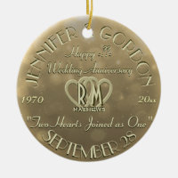 Wedding Monogram Anniversary Gold Color Double-Sided Ceramic Round Christmas Ornament