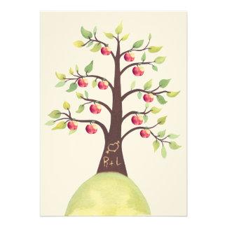 Wedding Monogram Apple Tree Carving Invite