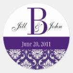 Wedding Monogram B Names Date Paisley Purple Seal Round Stickers