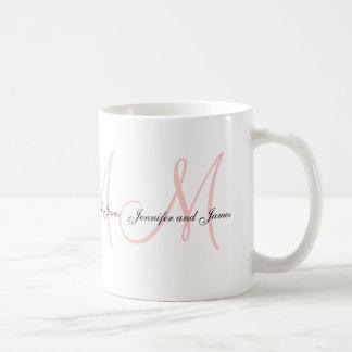 Wedding Monogram B & Names Pink White Favor Mug