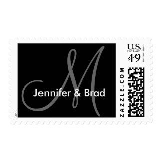 Wedding Monogram Black and White Postage Stamp