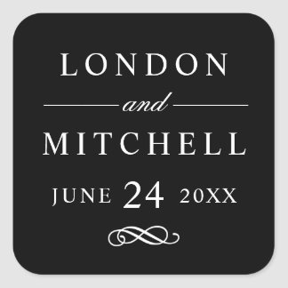 Wedding Monogram | Black Classic Elegance Square Sticker