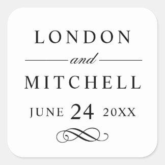 Wedding Monogram | Black Classic Elegance Square Sticker