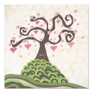 Wedding Monogram Blossom Tree Carving Invite