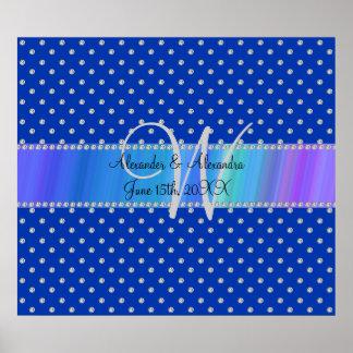 Wedding monogram blue diamonds poster