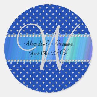 Wedding monogram blue diamonds round sticker