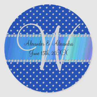 Wedding monogram blue diamonds round sticker