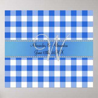 Wedding monogram blue gingham checkers posters
