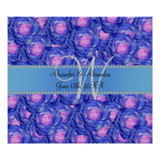 Wedding monogram blue roses poster