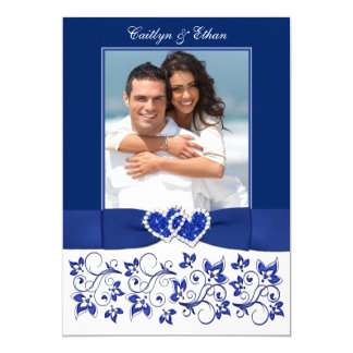 Wedding | Monogram | Blue, White | Floral | PHOTO Card