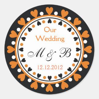 Wedding Monogram - Brick Red Hearts Classic Round Sticker
