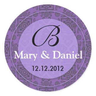 Wedding Monogram Bride Groom Date Envelope Seal sticker
