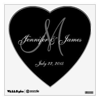 Wedding Monogram Bride Groom Name Heart Wall Decal