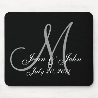 Wedding Monogram Bride Groom Names Date  Mouse Pad