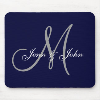 Wedding Monogram Bride Groom Names Navy Mouse Pad