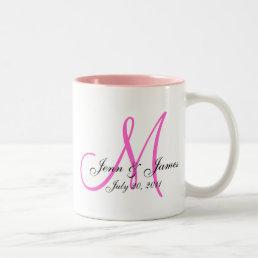 Wedding Monogram Bride Groom Save the Date Mug