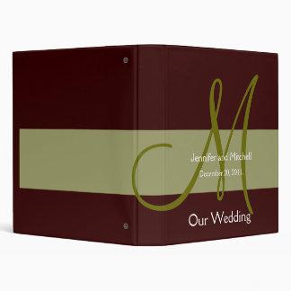 Wedding Monogram Brown Green Planner Photo Binder