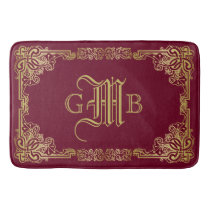 Wedding Monogram Classic Gold Frame Burgundy Bath Mat
